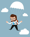 Lucky businessman is flying with parachute Stock Image