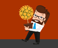 Lucky businessman investments conceptual. Lucky businessman gets dividends from previously invested project. Conceptual illustration Stock Image