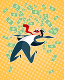 Lucky businessman jumping royalty free illustration