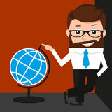 Lucky businessman is presenting a globe Royalty Free Stock Photos