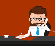 Lucky businessman is signing contract and talking royalty free illustration