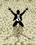 Lucky businessman silhouette Royalty Free Stock Photos