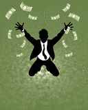 Lucky businessman silhouette Royalty Free Stock Photos