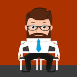 Lucky businessman is sitting on two chairs Royalty Free Stock Photo
