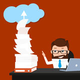 Lucky businessman. Is synchronizing his work with the cloud. Conceptual illustration Royalty Free Stock Photo