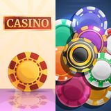 Lucky casino chips banner set, cartoon style stock illustration