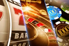 Lucky Casino Games. Concept Illustration. Roulette, Slots and Casino Chips vector illustration