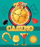 777 lucky casino roulette with bar drinks emblem, flat vector illustration. Vector image for your projects Stock Image