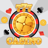 777 lucky casino roulette emblem, flat vector illustration. Vector image for your projects Royalty Free Stock Photos