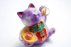 Lucky cat. A lucky cat with white background stock photos