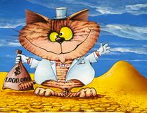 Lucky cat with a bag of money Royalty Free Stock Image