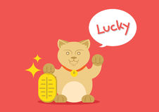 Lucky cat with golden coin Royalty Free Stock Photo
