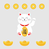 Lucky cat holding golden coin. Japanese Maneki Neco cat waving hand paw icon. Chinese gold Ingot money.  Stock Images
