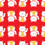 Lucky cat holding golden coin. Japanese Maneki Neco kitten waving hand paw. Seamless line Pattern Cute character. Wrapping paper, Royalty Free Stock Photography