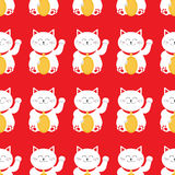 Lucky cat holding golden coin. Japanese Maneki Neco kitten waving hand paw. Seamless Pattern Cute character. Wrapping paper, texti Royalty Free Stock Photo