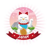 Lucky cat japan culture design. Cat luck lucky japan culture landmark asia famous icon. Colorful and seal stamp design. Vector illustration Royalty Free Stock Images