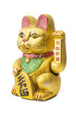 The Lucky Cat - Maneki Neko holding the Koban coin. The Maneki Neki is an ancient cultural icon from japan and popular in many asian cultures. The welcoming cat royalty free stock photography