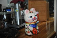 A Fortune Cat-Tea Pet. Lucky cat that originated more than 1000 years ago Chinese, also said it originated in Japan, is a common type of cat idol decoration of royalty free stock photo