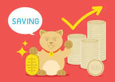 Lucky cat saving for rich Royalty Free Stock Photo