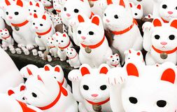 Lucky cats at Gotokuji-temple. Japanese Ceramic Lucky Cats at Gotokuji-temple Royalty Free Stock Photo