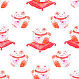 Lucky cats sitting on red pillows seamless watercolor vector print Stock Photography