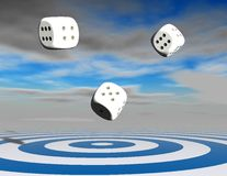 Lucky chance abstract concept with dices. Lucky chance abstract concept with dices and board Royalty Free Stock Image
