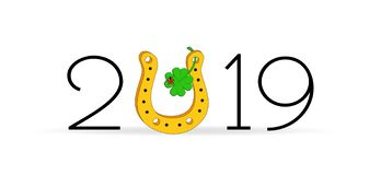 Lucky charm horseshoe, shamrock and ladybug, New Year`s card for 2019, Vector illustration isolated on white background. New Year`s card for 2019, Vector vector illustration