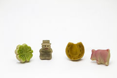 Lucky charms made of marzipan Royalty Free Stock Photo
