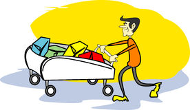Lucky client. Man and trolley - illustration royalty free illustration