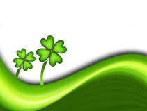 Lucky Clover. Green dynamic waves with two lucky clover. Illustration Stock Photo