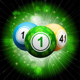 Lucky clover bingo ball explosion on green2 Royalty Free Stock Images