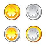 Lucky clover coins Stock Photo