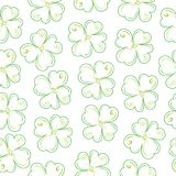 Lucky clover field. Seamless vector pattern with pinstripes similar to a plant with four leaves Royalty Free Stock Images