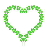 Lucky clover heart. Formed by the heart-shaped leaves royalty free illustration