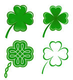 Lucky clovers. Four lucky clovers. Four different variants. Good luck Stock Photos