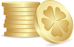 Lucky coins. Stack of golden lucky coins Royalty Free Stock Photography