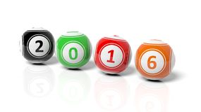 Lucky colorful balls with numbers 2016. On white Stock Photo