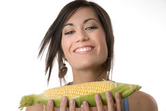 Lucky Corn Woman Presents Food Staple Stock Photo