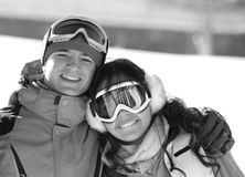 Lucky couple  snowboarders  in a mountain valley Royalty Free Stock Images
