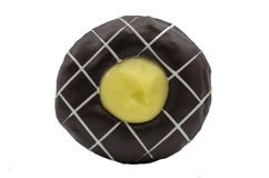 Lucky Cream Chocolate Donut royalty-vrije stock foto's
