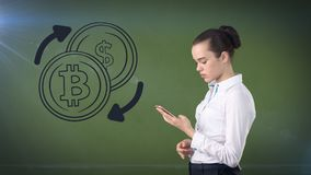 Lucky cute lady and bitcoin investment. Concept of mining and virtual criptocurrency. Successful money making. Lucky lady and bitcoin investment. She needs to royalty free stock photos