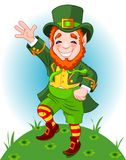 Lucky Dancing Leprechaun. Full length drawing of a leprechaun dancing a jig, copy space Stock Images