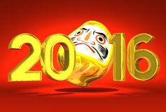Lucky Daruma Doll And 2016 On Red Background. 3D render illustration For New Year 2016 Royalty Free Stock Photo