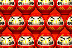 Lucky Daruma Dolls On Red Stockfotografie