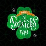 Happy Saint Patrick`s Day logotype. Vector illustration of Happy Saint Patrick`s Day logotype. Hand drawn typography badge with green shamrock. Hand sketched vector illustration