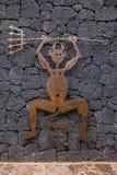Lucky Devil Symbol av den Timanfaya nationalparken Fotografering för Bildbyråer