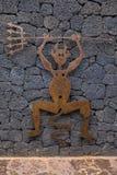 Lucky Devil Symbol av den Timanfaya nationalparken Royaltyfria Bilder