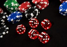 Lucky dice and chips royalty free stock image