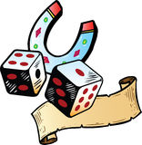 Lucky dice with horseshoe tattoo Royalty Free Stock Photo