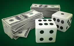 Lucky dice and money Stock Photo